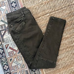Moto Jeans in Olive Green